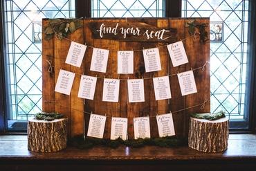 Rustic brown wedding reception decor