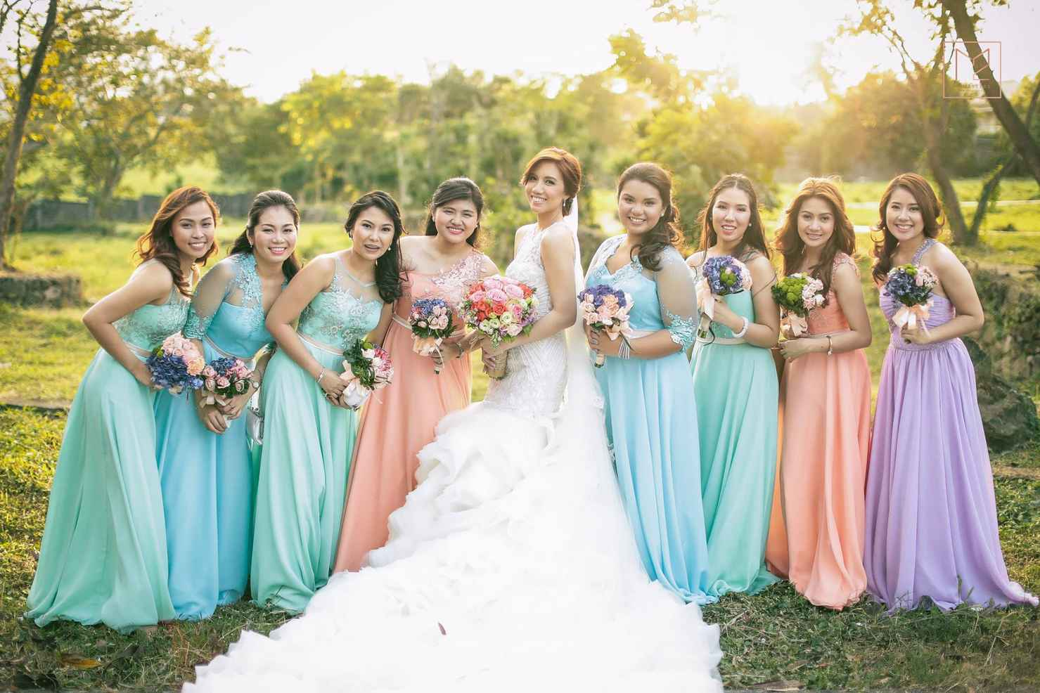 Outdoor brown bridesmaids