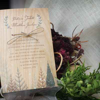 Rustic winter brown wedding invitations