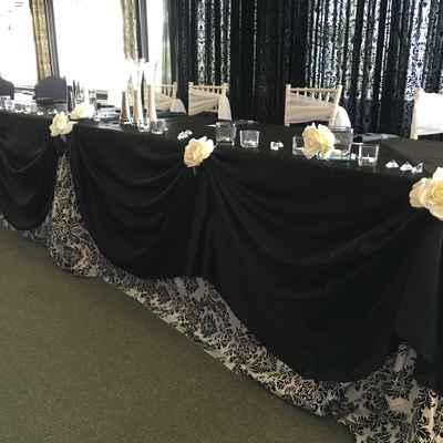 Overseas black wedding reception decor