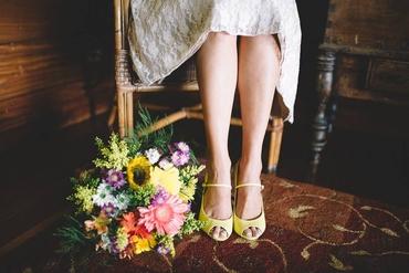 Yellow wedding shoes