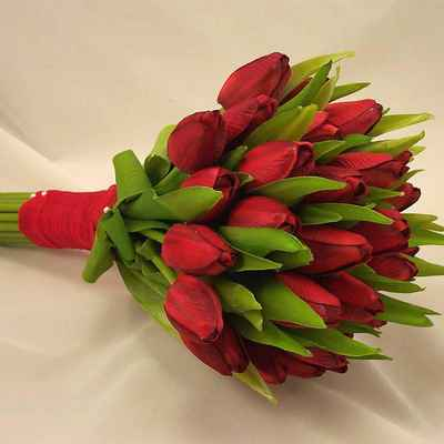 Spring red tulip wedding bouquet