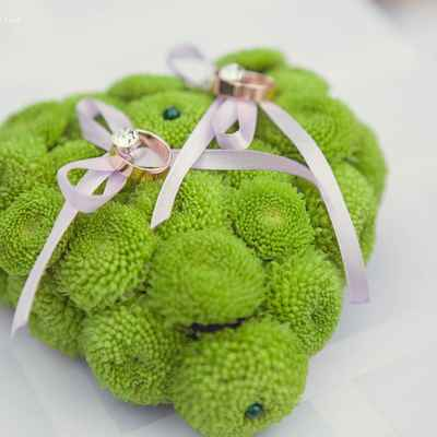 Green wedding ring pillows