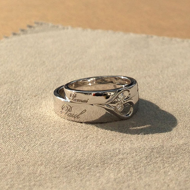 ustom made & sold - Couple's (His/Her) matching Heart Shape Wedding Bands with personal names laser