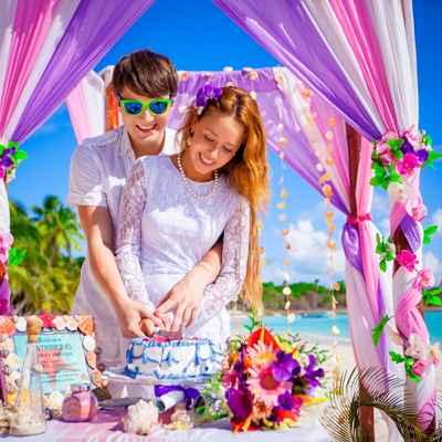 Marine pink wedding ceremony decor