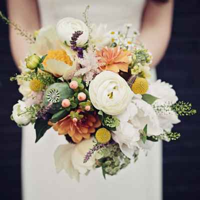 Orange aster wedding bouquet