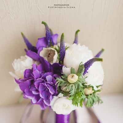 Purple peony wedding bouquet