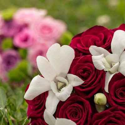 Summer red rose wedding bouquet