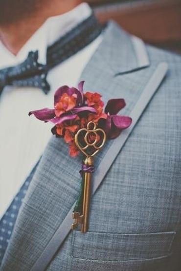 Purple wedding buttonhole