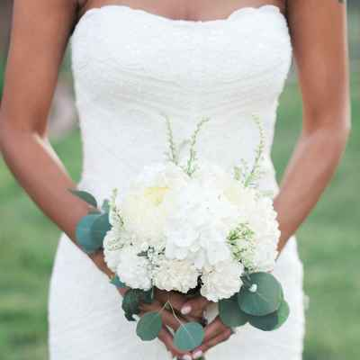 White carnation wedding bouquet