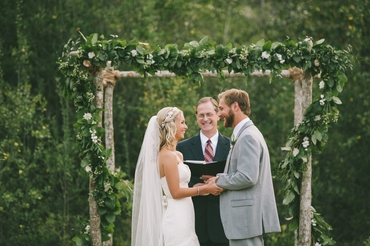 Grey wedding ceremony decor