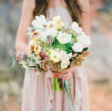 Rustic orchid wedding bouquet