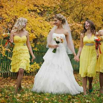 Outdoor autumn white long wedding dresses