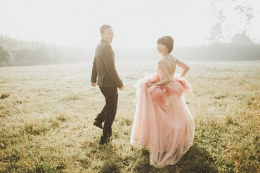 Outdoor pink long wedding dresses
