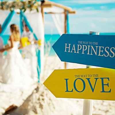 Beach blue wedding signs