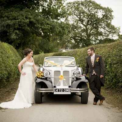 Yellow wedding transport decor