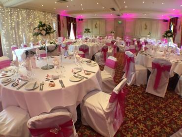 European white wedding reception decor