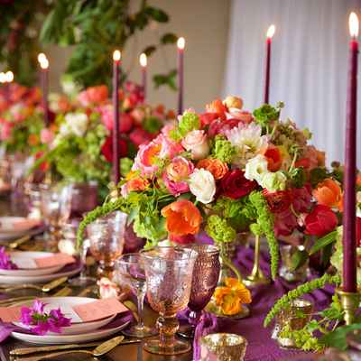 Purple overseas wedding reception decor