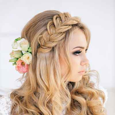 Mediterranean pink long wedding hairstyles