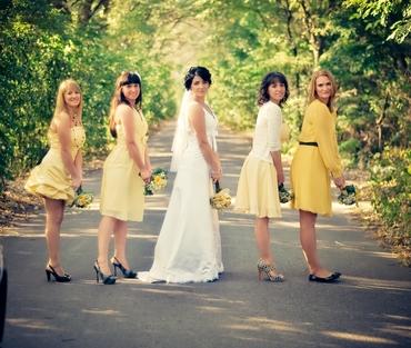Yellow long wedding dresses