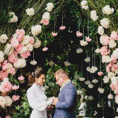 Pink outdoor wedding ceremony decor