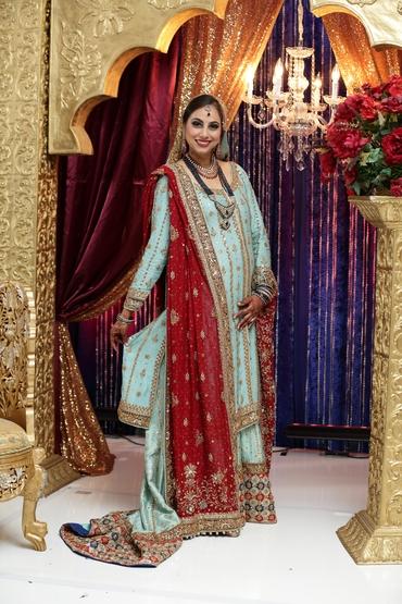 Ethnical blue long wedding dresses