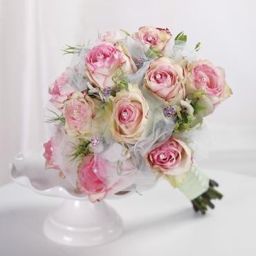 Beach pink rose wedding bouquet