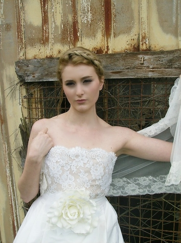 Rustic ivory long wedding dresses