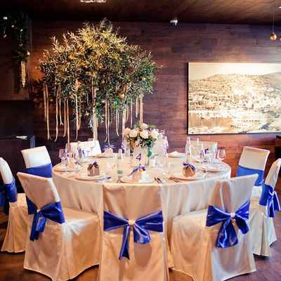 Winter blue wedding reception decor