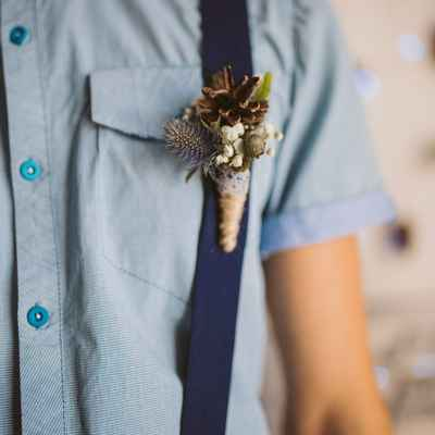 Brown wedding buttonhole