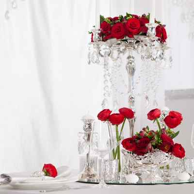 Red wedding reception decor