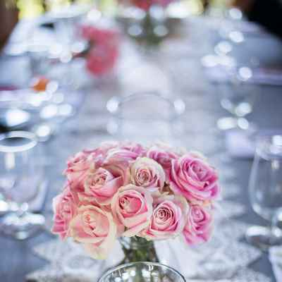 Grey wedding reception decor