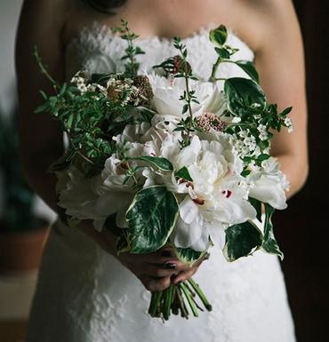 Rustic green peony wedding bouquet