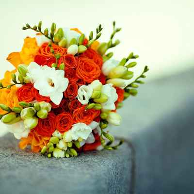 Orange friezes wedding bouquet