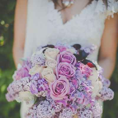 Spring pink lilac wedding bouquet