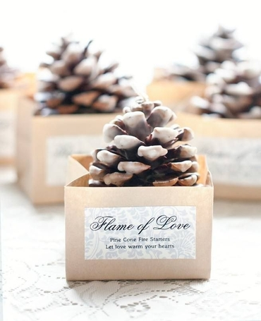 Winter ivory wedding favours