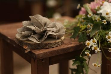 Rustic brown wedding ring pillows