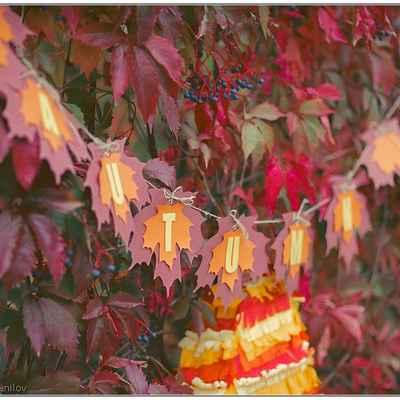 Autumn orange wedding signs