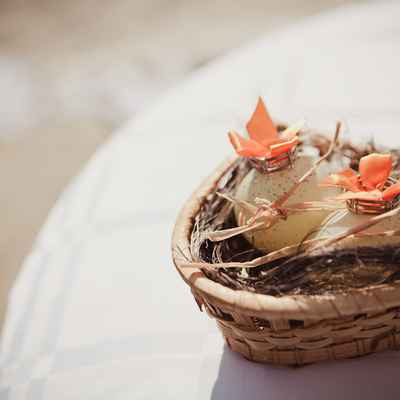 Rustic orange wedding rings