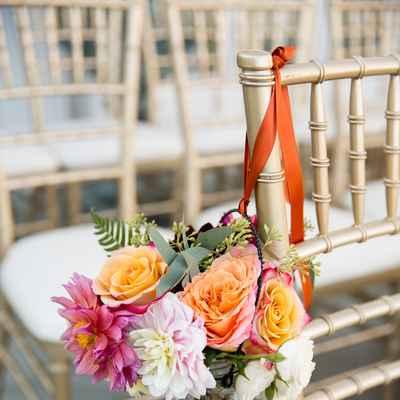 Orange wedding ceremony decor