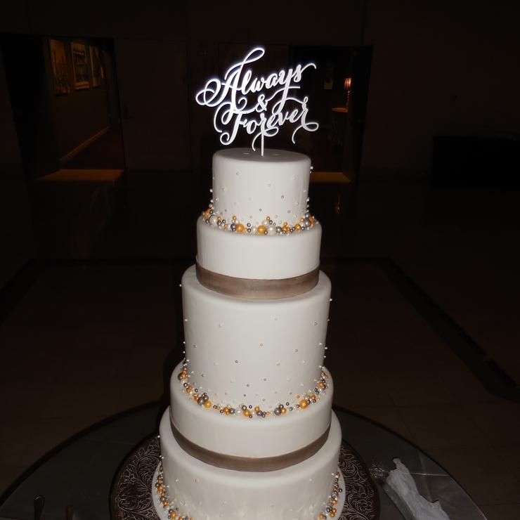Silver & Gold Pearl Wedding Cake