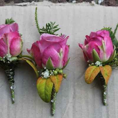 Pink wedding buttonhole