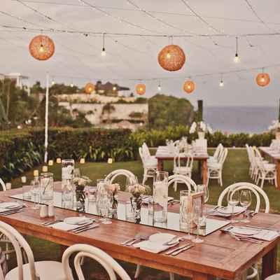 Outdoor summer wedding reception decor