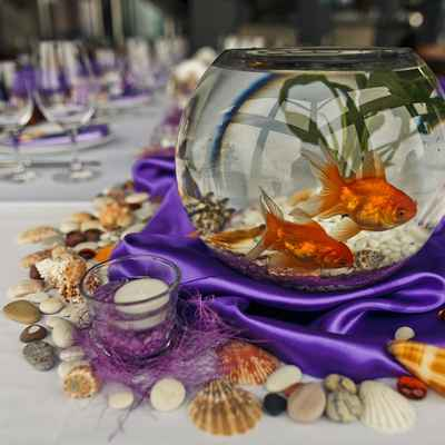 Marine orange wedding reception decor