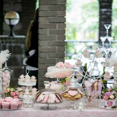 French pink wedding reception decor