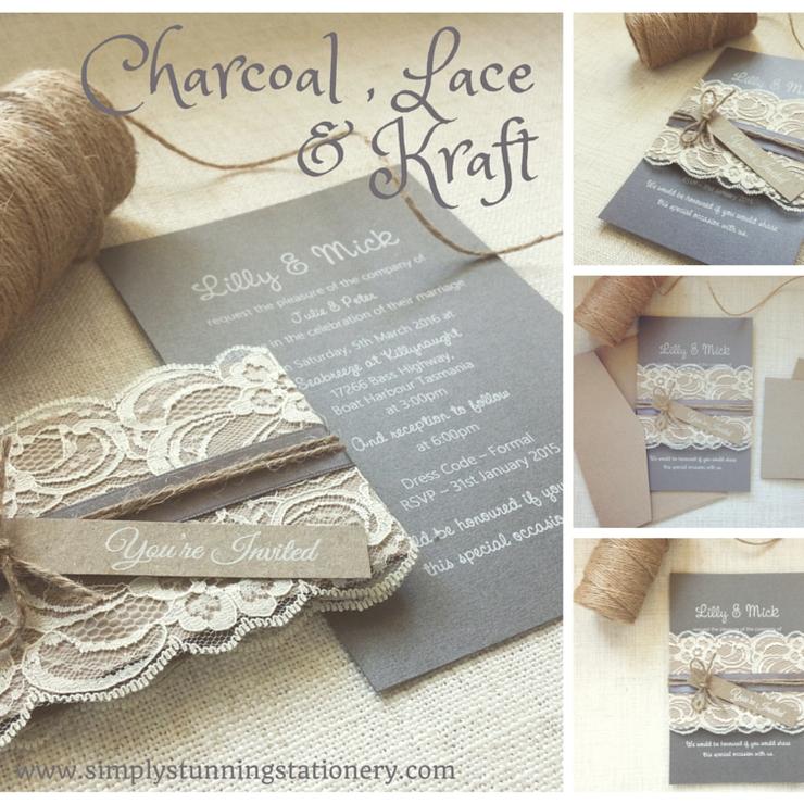 Charcoal, kraft & lace