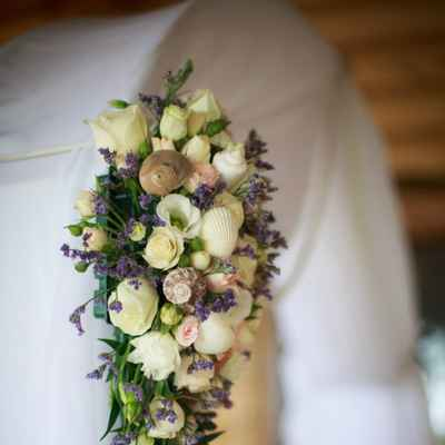Marine purple wedding floral decor