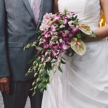 Purple orchid wedding bouquet