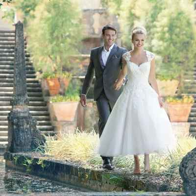 Outdoor white short wedding dresses