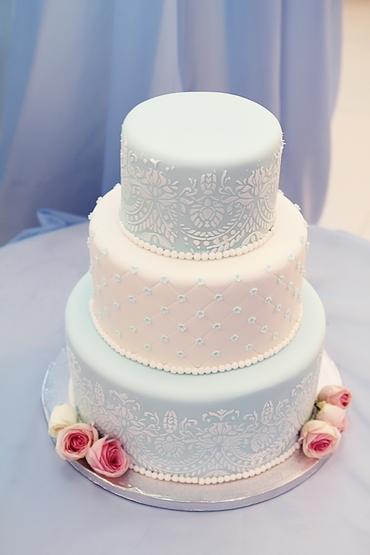 Vintage blue wedding cakes